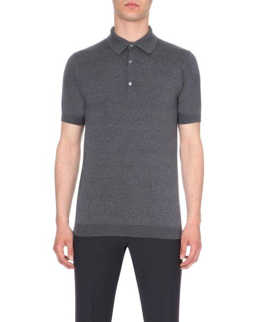 John Smedley - Gray Adrian Cotton Polo Shirt - For Men for Men - Lyst