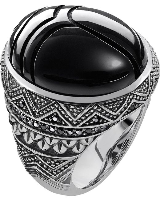 Thomas Sabo - Metallic Rebel At Heart Sterling Silver And Onyx Scarab Beetle Ring - Lyst