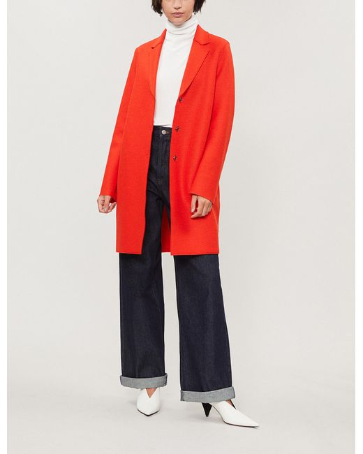 Harris Wharf London - Red Cocoon Wool Coat - Lyst