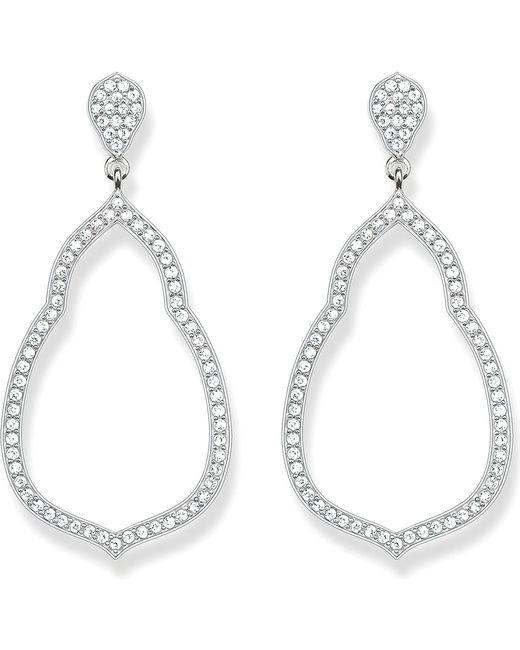 Thomas Sabo   Metallic Fatima's Garden Sterling Silver And White Pavé Zirconia Drop Earrings   Lyst
