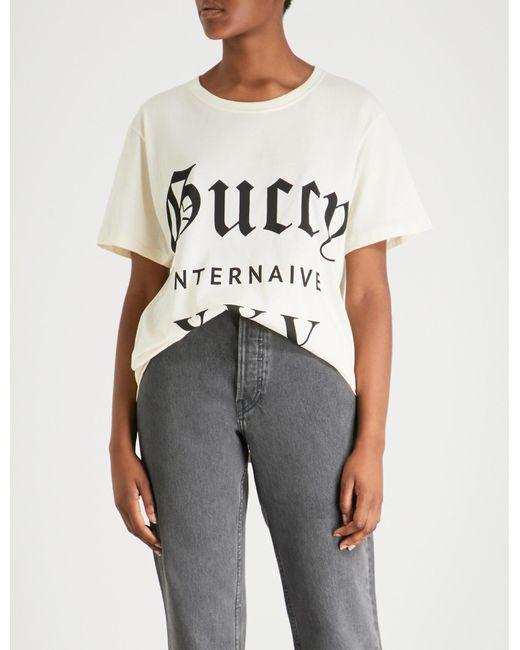 3347d56a Gucci - Multicolor Guccy Internaive Xxv Cotton-jersey T-shirt - Lyst