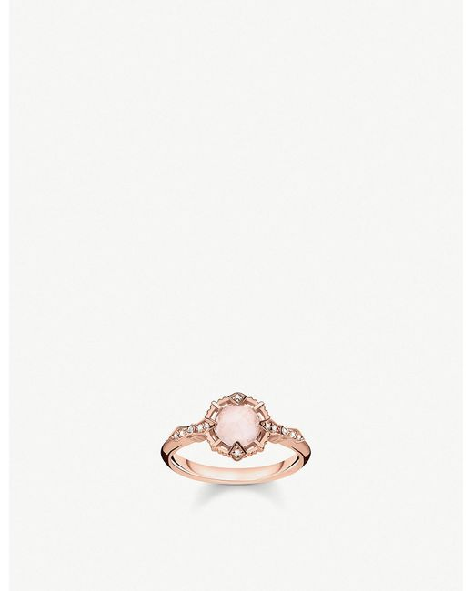 Thomas Sabo - Metallic Vintage Collection Diamond-embellishment 18-ct Rose Gold-plated Sterling Silver Ring - Lyst