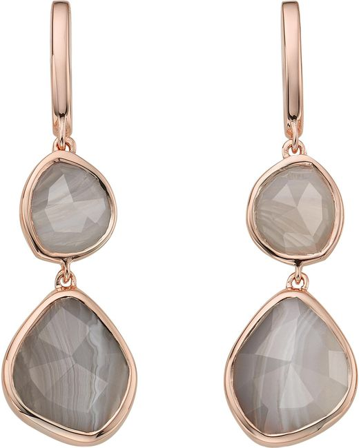 Monica Vinader - Metallic Siren Double Drop Nugget 18ct Rose Gold-plated And Onyx Earrings - Lyst
