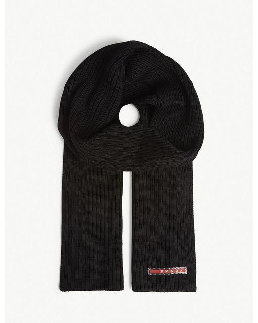 1cffd4505a8 ... discount prada black logo knitted wool scarf for men lyst 2bc3f 5174c