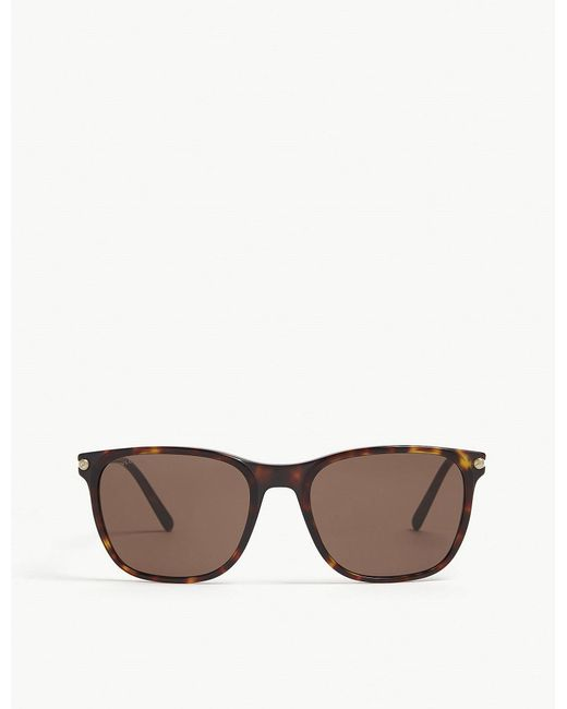 BVLGARI - Ladies Havana Brown Bv7032 Rectangle-frame Sunglasses - Lyst