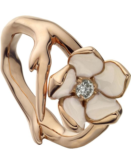 Shaun Leane - Metallic Sterling Silver Rose-gold Vermeil And Diamond Ring - Lyst