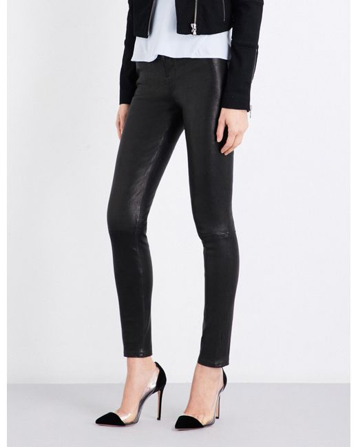 J Brand - Black Maria Skinny Leather Jeans - Lyst