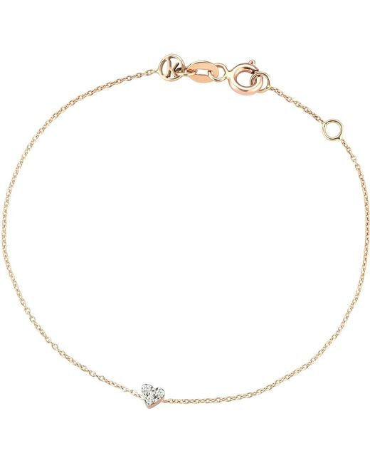 The Alkemistry - Metallic Diamond Heart 14ct Rose-gold Heart Bracelet - Lyst