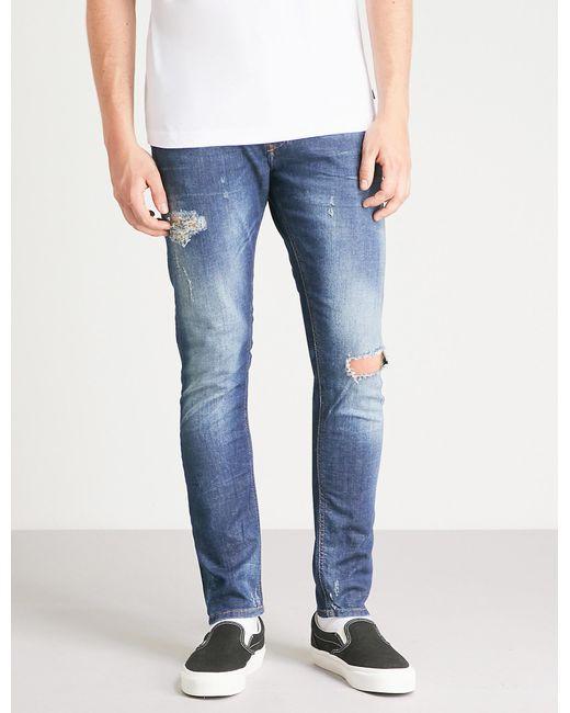 9fc11d899954bb DIESEL - Blue Tepphar Ripped Slim Carrot-fit Tapered Jeans for Men - Lyst