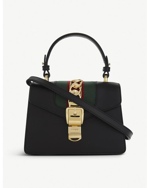 afc6659505a Gucci Sylvie Leather Cross-body Bag in Black - Lyst