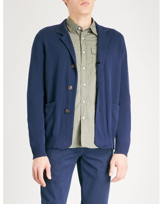 Brunello Cucinelli | Blue Funnel-neck Waffle-knit Cotton Cardigan for Men | Lyst