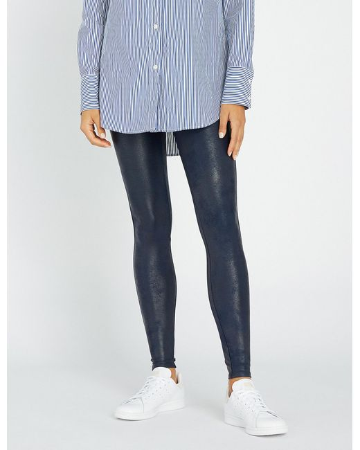 3cb12158d807 Spanx High-rise Faux-leather leggings in Blue - Lyst
