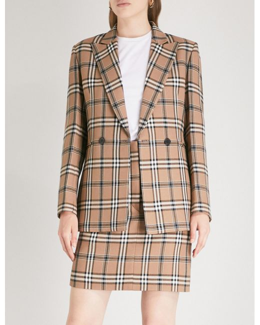 Sandro - Natural Checked Woven Jacket - Lyst