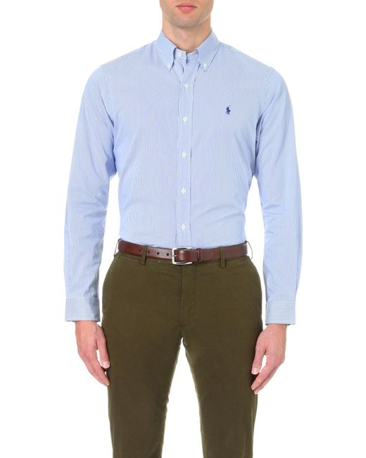 Polo Ralph Lauren - Blue Regular-fit Single-cuff Striped Cotton Shirt for Men - Lyst
