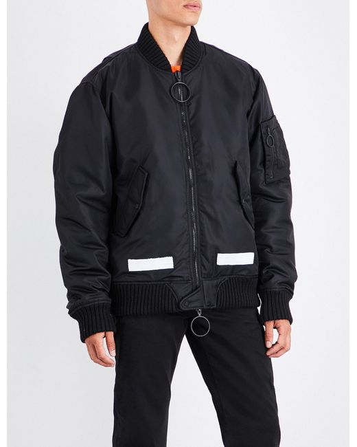 Off-White c/o Virgil Abloh | Black Brushed Logo-print Satin Bomber Jacket for Men | Lyst