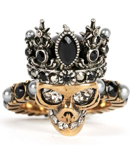 Alexander McQueen | Metallic Crowned Skull Ring | Lyst