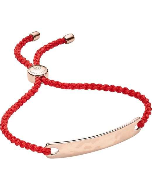Monica Vinader - Red Havana 18ct Rose Gold-plated Friendship Bracelet - Lyst