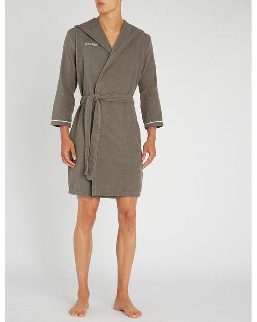 Lyst - Calvin Klein Anatalya Cotton Dressing Gown in Gray