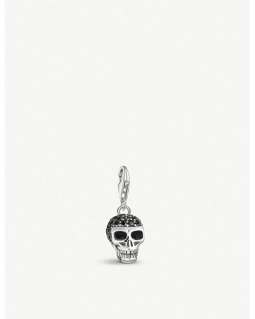 Thomas Sabo - Metallic Skull Sterling Silver And Black Zirconia Charm - Lyst