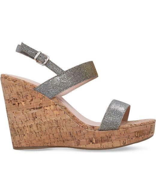 Carvela Kurt Geiger - Gray Kay Metallic Wedge Sandals - Lyst