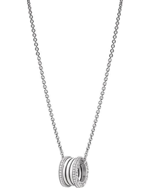 BVLGARI - Metallic B.zero1 18kt White-gold And Diamond Necklace - Lyst
