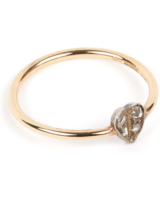 Annina Vogel | Metallic 9 Carat Gold And Diamond Heart Ring | Lyst