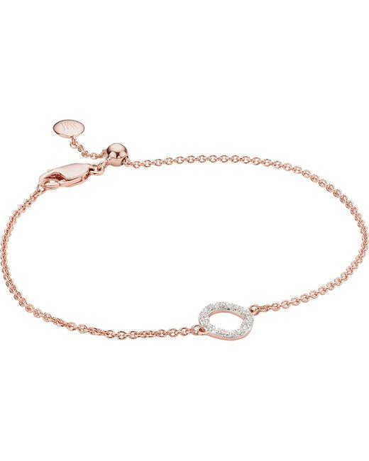 Monica Vinader - Metallic Riva Mini Circle 18ct Rose-gold Vermeil And Diamond Bracelet - Lyst