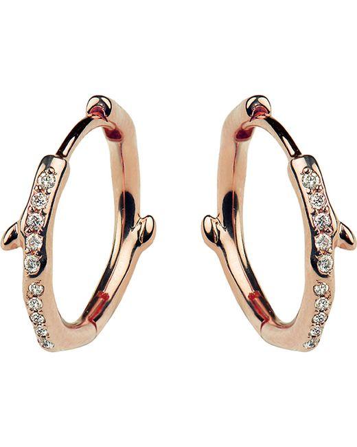 Shaun Leane - Multicolor Cherry Branch Rose-gold Vermeil And Diamond Hoop Earrings - Lyst