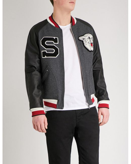 Sandro   Gray Cougar-appliqué Wool-blend Bomber Jacket for Men   Lyst