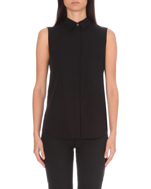 Theory - Black Tanelis Sleeveless Silk Shirt - Lyst