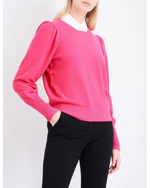 Claudie Pierlot | Pink Mathys Detachable-collar Knitted Jumper | Lyst