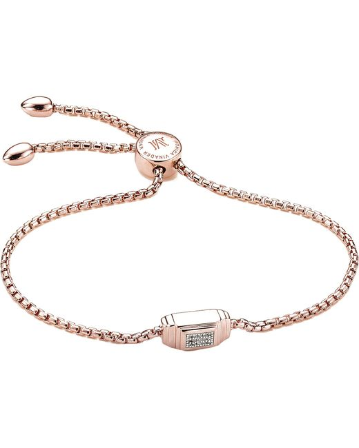 Monica Vinader - Black Baja Deco 18ct Rose Gold And Diamond Bracelet - Lyst