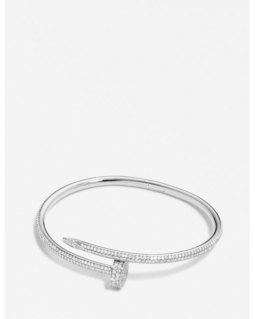 Cartier - Juste Un Clou 18ct White-gold And Diamond Bracelet - Lyst