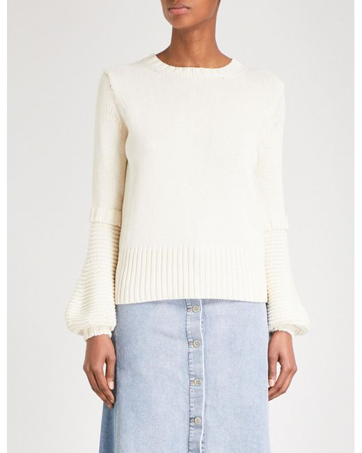 MiH Jeans - White Lesson Knitted Cotton Jumper - Lyst