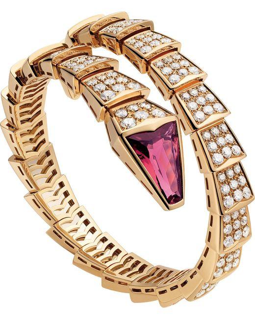 BVLGARI - Metallic Serpenti 18kt Pink-gold And Diamond Bracelet - Lyst