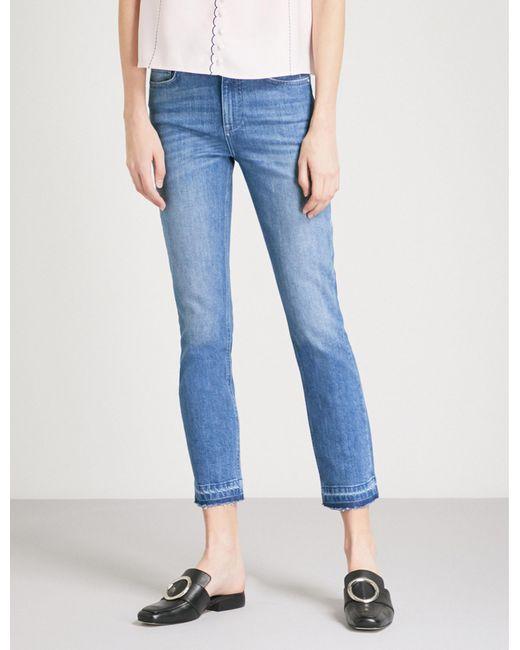 Claudie Pierlot - Blue Released-hem Cropped Skinny Mid-rise Jeans - Lyst