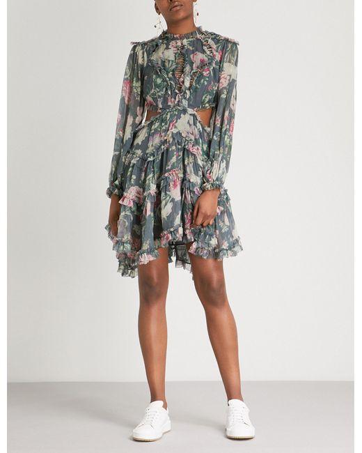 Zimmermann - Multicolor Melody Floral-print Silk-georgette Dress - Lyst