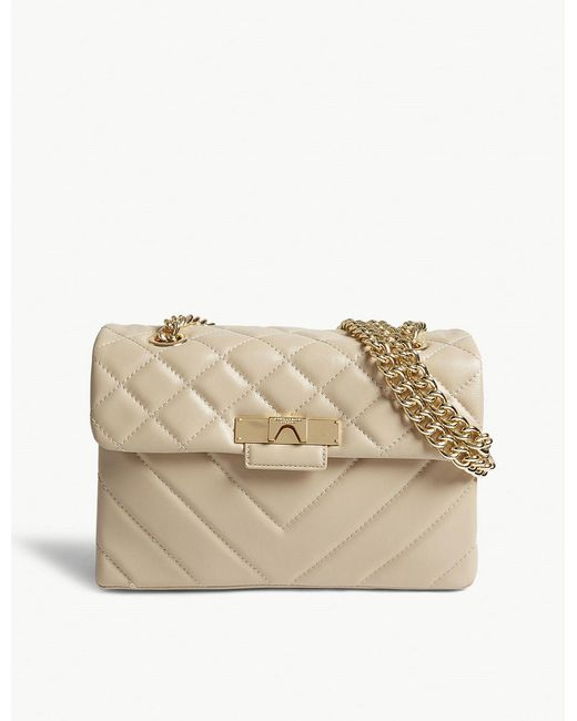 Kurt Geiger - Natural Ladies Beige Quilted Leather Mayfair Cross-body Bag - Lyst