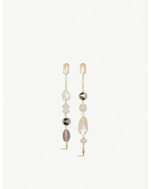 Kendra Scott - Metallic Cosette Asymmetric 14ct Yellow Gold-plated Brass And Ivory Mother-of-pearl Drop Earrings - Lyst