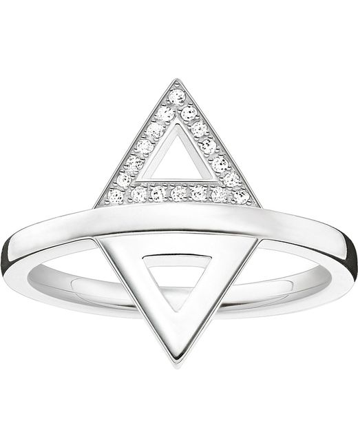 Thomas Sabo - Black Triangle Sterling Silver And Diamond Ring - Lyst