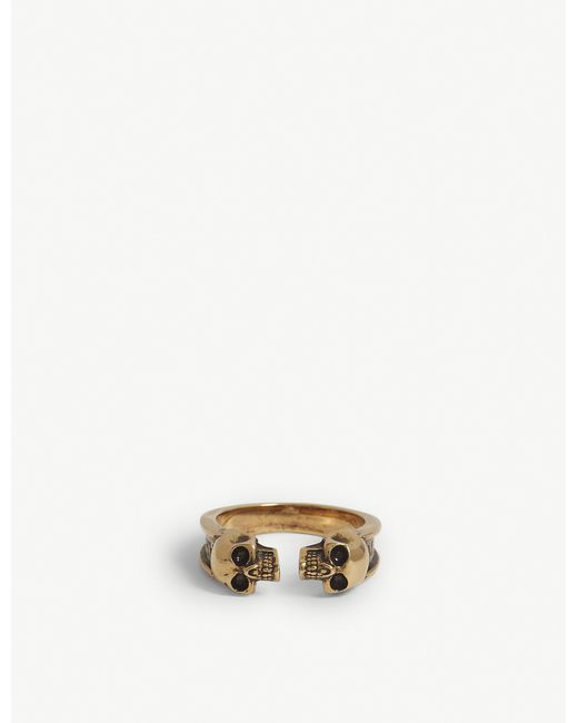 Alexander McQueen - Metallic Skull Brass Ring for Men - Lyst