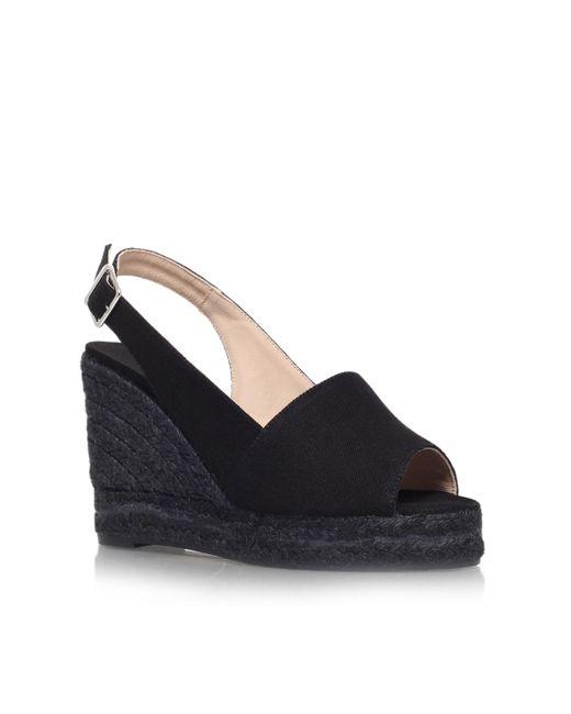 Castaner   Black Bella 8 High Wedge Heel Peep Toe Shoes   Lyst