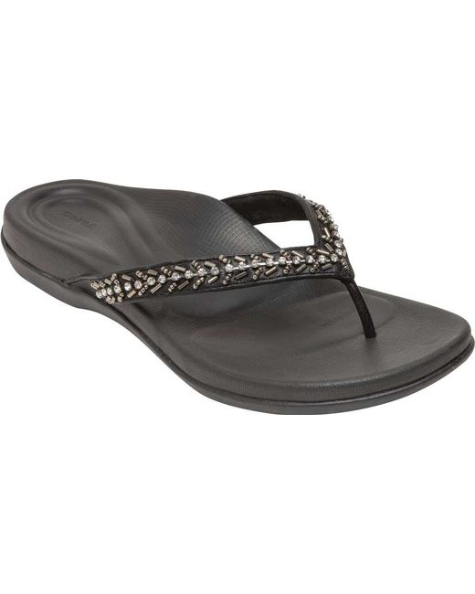 d1a34b8c572c0f Lyst - Aetrex Jules Jeweled Thong Sandal in Black