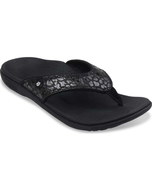 Spenco - Black Cheetah Print Thong Sandal - Lyst