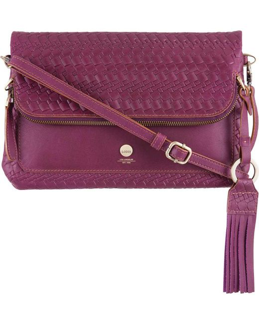 Lodis - Purple Rodeo Woven Rfid Aphra Zip Flap Crossbody - Lyst