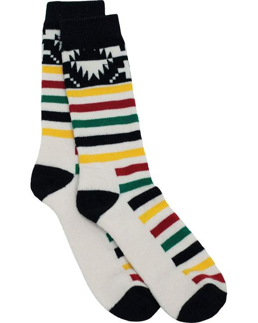 Pendleton - White Merino Jacquard Park 6426 Crew Sock for Men - Lyst