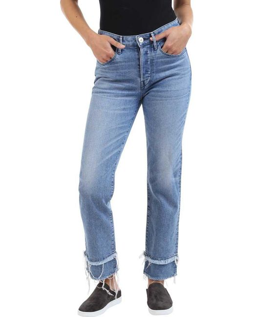 3x1 - Blue W3 Higher Ground Slash Slim Crop Jean In Crane - Lyst