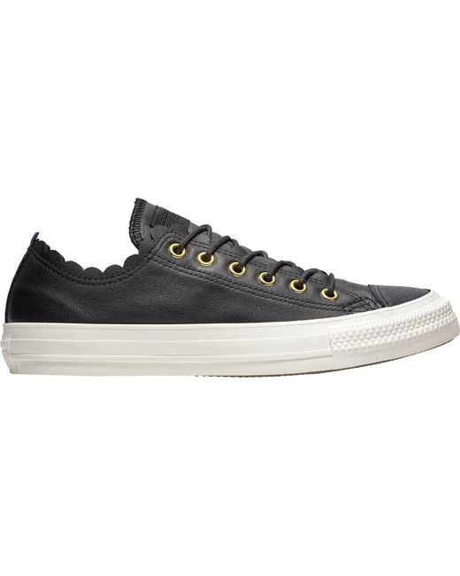 abb19a1cce20 Converse - Black Chuck Taylor All Star Scalloped Leather Sneaker - Lyst ...