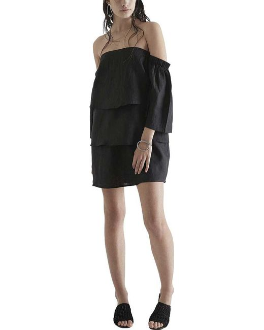 Lyst Sir The Label Paige Long Sleeve Off The Shoulder Dress In Black