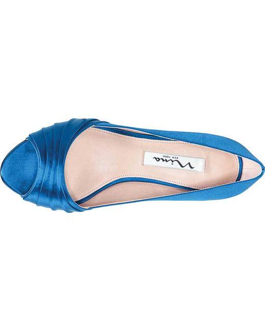 57ff44603337 ... Nina - Blue Chezare Open-toe Pump - Lyst ...